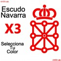 3 PEGATINAS VINILO ESCUDO DE NAVARRA