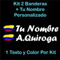 2 PEGATINAS VINILO BANDERA COLOMBIA Y TEXTO PERSONALIZADO