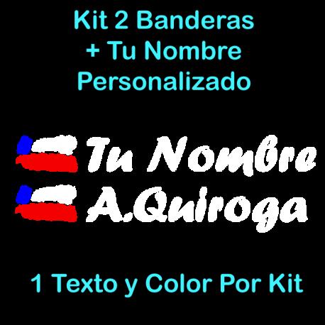 2 PEGATINAS VINILO BANDERA CHILE Y TEXTO PERSONALIZADO