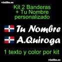 Kit 2 Pegatinas Vinilo Bandera República  Dominicana Y Texto Personalizado