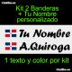 2 PEGATINAS VINILO BANDERA REPUBLICA  DOMINICANA Y TEXTO PERSONALIZADO