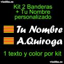 Kit 2 Pegatinas Vinilo Bandera Cataluña Y Texto Personalizado