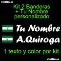 Kit 2 Pegatinas Vinilo Bandera Andalucia y Texto Personalizado
