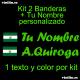 2 PEGATINAS VINILO  BANDERA ANDALUCIA Y TEXTO PERSONALIZADO