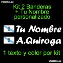 Kit 2 Pegatinas Vinilo Bandera Galicia Y Texto Personalizado