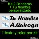 2 PEGATINAS VINILO BANDERA GALICIA Y TEXTO PERSONALIZADO