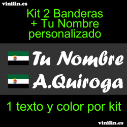 Kit 2 Pegatinas Vinilo  Bandera Extremadura Y Texto Personalizado