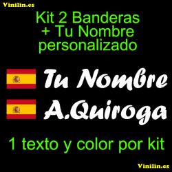 Kit 2 Pegatinas Vinilo Bandera España Escudo Y Texto Personalizado