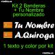 Kit 2 Pegatinas Vinilo Bandera Aragon y Texto Personalizado