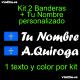 Kit 2 Pegatinas Vinilo Bandera Asturias Y Texto Personalizado