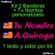 Kit 2 Pegatinas Vinilo Bandera Baleares Y Texto Personalizado