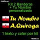 Kit 2 Pegatinas Vinilo Bandera Cantabria Y Texto Personalizado