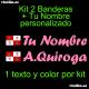 Kit 2 Pegatinas Vinilo Bandera Castilla Leon Y Texto Personalizado