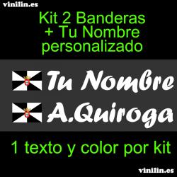 Kit 2 Pegatinas Vinilo Bandera Ceuta Y Texto Personalizado