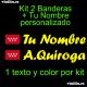 Kit 2 Pegatinas Vinilo Bandera Madrid Y Texto Personalizado