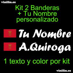 Kit 2 Pegatinas Vinilo Bandera Navarra Y Texto Personalizado