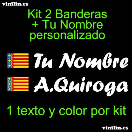 Kit 2 Pegatinas Vinilo Bandera Valencia Y Texto Personalizado