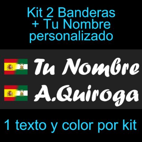 Kit 2 Pegatinas Vinilo  Bandera España Andalucia Y Texto Personalizado
