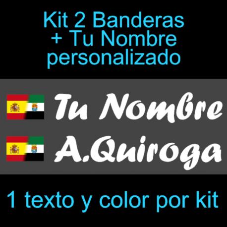 Kit 2 Pegatinas Vinilo  Bandera España/Extremadura Y Texto Personalizado