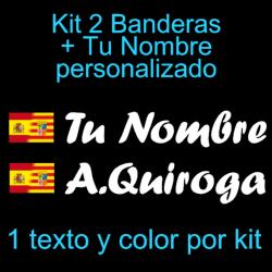 Kit 2 Pegatinas Vinilo  Bandera España/Aragon Y Texto Personalizado