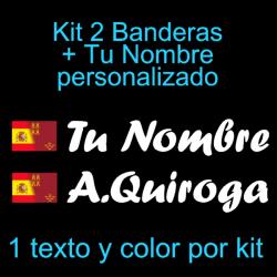 Kit 2 Pegatinas Vinilo  Bandera España/Murcia Y Texto Personalizado