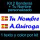 Kit 2 Pegatinas Vinilo  Bandera España/Pais Vasco (Ikurriña) Y Texto Personalizado