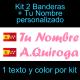 Kit 2 Pegatinas Vinilo  Bandera España/Madrid Y Texto Personalizado