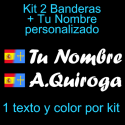 Kit 2 Pegatinas Vinilo  Bandera España/Asturias Y Texto Personalizado