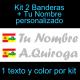 Kit 2 Pegatinas Vinilo  Bandera España/La Rioja Y Texto Personalizado