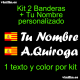 Kit 2 Pegatinas Vinilo  Bandera España/Cataluña Y Texto Personalizado