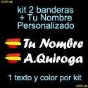 kit 2 Pegatinas Vinilo Bandera España Y Texto Personalizado